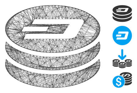 Vector network Dash coin column. Geometric linear carcass 2D network generated with Dash coin column icon, designed with crossing lines. Some bonus icons are added. Иллюстрация