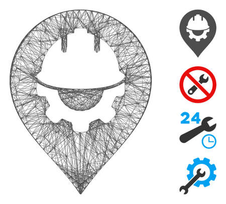 Vector net development helmet marker. Geometric hatched frame 2D net made from development helmet marker icon, designed from intersected lines. Some bonus icons are added.