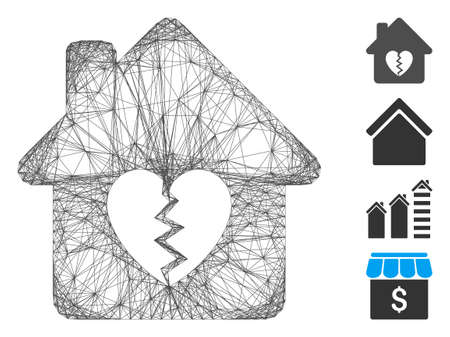 Vector network divorce house heart. Geometric wire carcass 2D network generated with divorce house heart icon, designed with crossing lines. Some bonus icons are added. Çizim