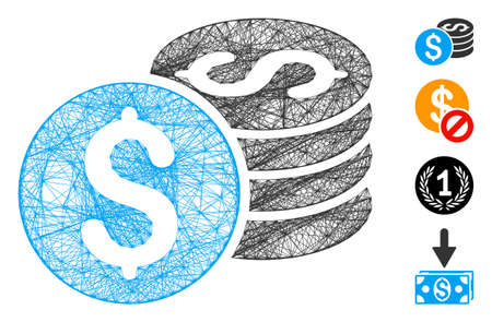 Vector network dollar coin stack. Geometric hatched carcass 2D network generated with dollar coin stack icon, designed with crossed lines. Some bonus icons are added.