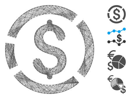 Vector net dollar diagram. Geometric hatched carcass flat net generated with dollar diagram icon, designed with crossed lines. Some bonus icons are added.
