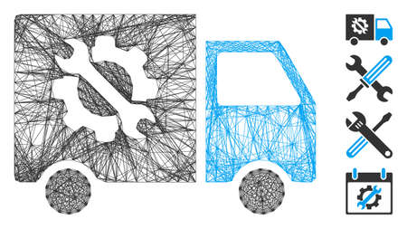 Vector net equipment truck. Geometric linear frame 2D net generated with equipment truck icon, designed from crossing lines. Some bonus icons are added.