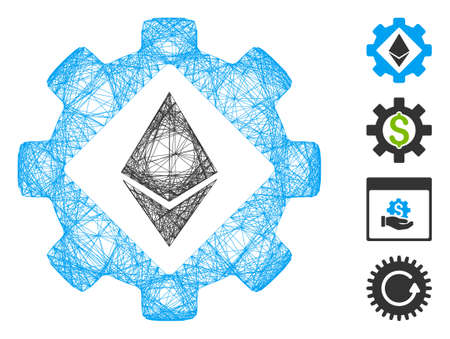 Vector wire frame Ethereum options gear. Geometric wire frame flat net made from Ethereum options gear icon, designed from crossed lines. Some bonus icons are added.