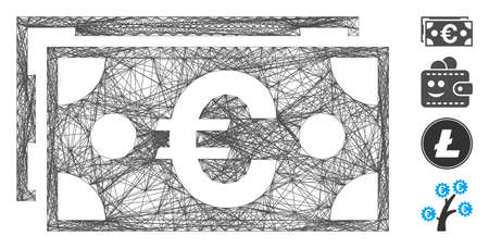 Vector network Euro banknotes. Geometric linear carcass flat network made from Euro banknotes icon, designed from crossed lines. Some bonus icons are added. Иллюстрация