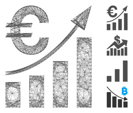Vector wire frame Euro bar chart trend. Geometric wire frame flat network generated with Euro bar chart trend icon, designed with crossing lines. Some bonus icons are added.