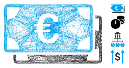 Vector wire frame Euro bills. Geometric wire frame flat network made from Euro bills icon, designed from crossed lines. Some bonus icons are added. Иллюстрация