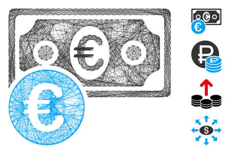 Vector network Euro cash money. Geometric hatched carcass flat network generated with Euro cash money icon, designed with intersected lines. Some bonus icons are added.