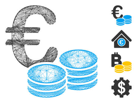 Vector wire frame Euro coin stacks. Geometric wire frame 2D net made from Euro coin stacks icon, designed from crossing lines. Some bonus icons are added.