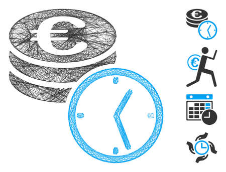 Vector network Euro coins and time. Geometric hatched frame flat network generated with Euro coins and time icon, designed with intersected lines. Some bonus icons are added.