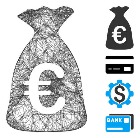 Vector wire frame Euro money bag. Geometric wire frame 2D network made from Euro money bag icon, designed from crossed lines. Some bonus icons are added.