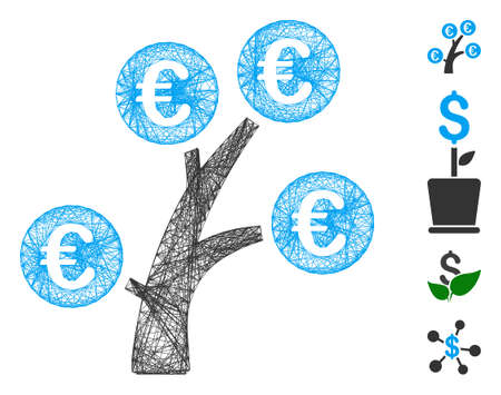 Vector wire frame Euro money tree. Geometric wire frame 2D net generated with Euro money tree icon, designed with crossed lines. Some bonus icons are added. 向量圖像