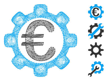 Vector network Euro options. Geometric linear frame 2D network generated with Euro options icon, designed with crossed lines. Some bonus icons are added.