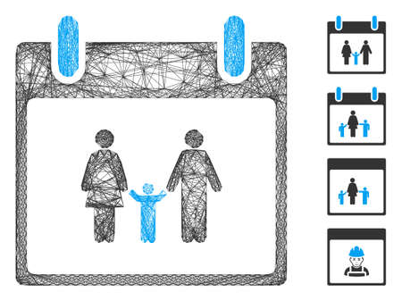 Vector wire frame family calendar day. Geometric wire frame flat net generated with family calendar day icon, designed with crossed lines. Some bonus icons are added.
