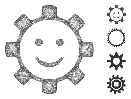 Vector wire frame gear smile smiley. Geometric wire carcass flat net made from gear smile smiley icon, designed from crossed lines. Some bonus icons are added.