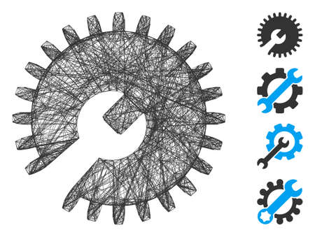 Vector wire frame gear tools. Geometric wire frame 2D net made from gear tools icon, designed from crossed lines. Some bonus icons are added.
