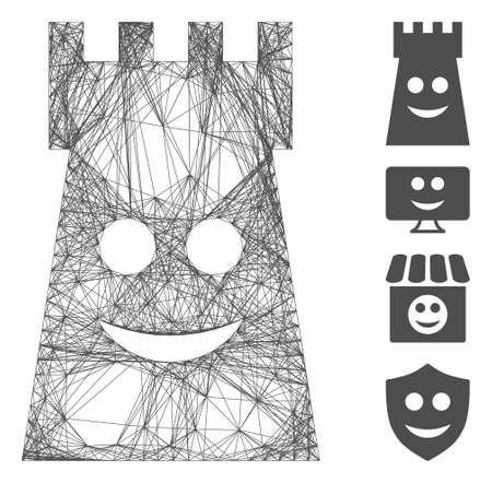 Vector network glad fort tower. Geometric wire carcass 2D network made from glad fort tower icon, designed from crossed lines. Some bonus icons are added.