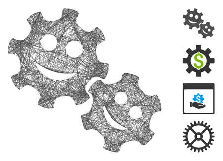 Vector wire frame happy gears. Geometric wire frame flat net based on happy gears icon, designed with crossed lines. Some bonus icons are added.