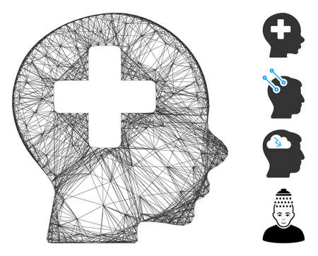 Vector wire frame head medicine. Geometric wire frame 2D net made from head medicine icon, designed from crossed lines. Some bonus icons are added.