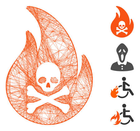 Vector wire frame hell fire. Geometric wire carcass 2D net generated with hell fire icon, designed with crossing lines. Some bonus icons are added.