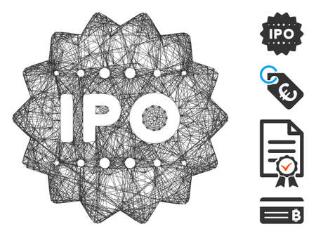 Vector network IPO token. Geometric hatched carcass 2D network generated with IPO token icon, designed with crossed lines. Some bonus icons are added.