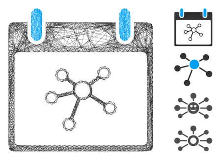 Vector wire frame links calendar day. Geometric wire carcass 2D net generated with links calendar day icon, designed with intersected lines. Some bonus icons are added.