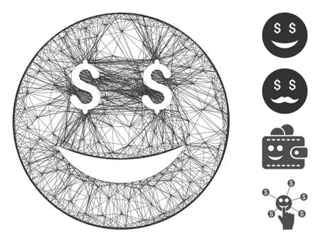 Vector net luck dollar smiley. Geometric wire carcass 2D net generated with luck dollar smiley icon, designed with crossed lines. Some bonus icons are added. Иллюстрация