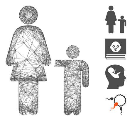 Vector wire frame mother child. Geometric hatched frame 2D network made from mother child icon, designed from crossing lines. Some bonus icons are added.