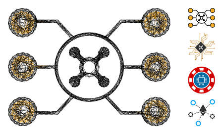 Vector network roulette circuit. Geometric wire carcass flat network made from roulette circuit icon, designed from crossed lines. Some bonus icons are added.
