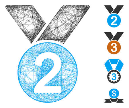 Vector net medal. Geometric linear carcass flat net made from medal icon, designed from crossed lines. Some bonus icons are added.