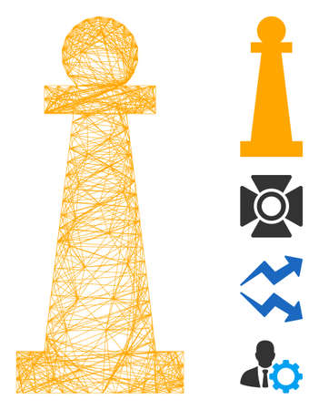 Vector net Stanchion. Geometric wire carcass flat net made from Stanchion icon, designed from intersected lines. Some bonus icons are added.