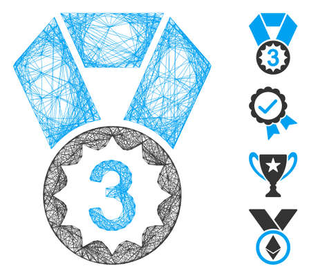 Vector network third place. Geometric linear frame 2D network made from third place icon, designed from crossed lines. Some bonus icons are added.