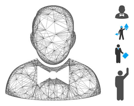 Vector wire frame waiter. Geometric hatched frame flat network based on waiter icon, designed from crossing lines. Some bonus icons are added. 矢量图像