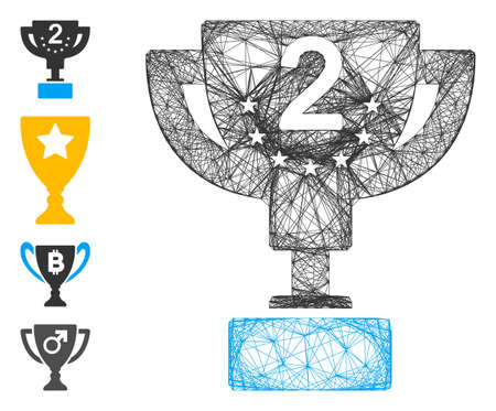 Vector wire frame second prize cup. Geometric linear frame flat network generated with second prize cup icon, designed with crossing lines. Some bonus icons are added.