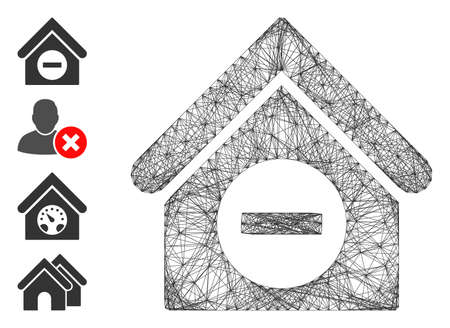 Vector network deduct building. Geometric hatched carcass flat network made from deduct building icon, designed from crossed lines. Some bonus icons are added.