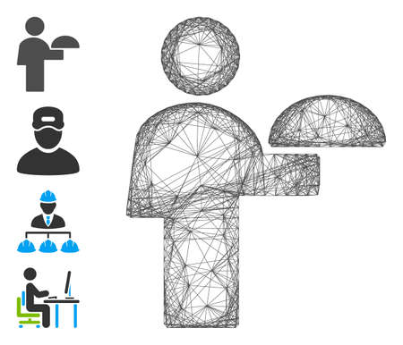 Vector wire frame waiter. Geometric linear frame 2D network made from waiter icon, designed from intersected lines. Some bonus icons are added.