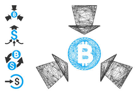 Vector wire frame Bitcoin collect arrows. Geometric wire frame 2D network based on Bitcoin collect arrows icon, designed with crossing lines. Some bonus icons are added.