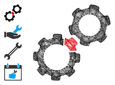 Vector net damaged gears. Geometric wire frame 2D net generated with damaged gears icon, designed with intersected lines. Some bonus icons are added.