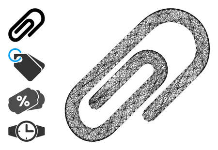 Vector net paperclip. Geometric linear carcass flat net generated with paperclip icon, designed with crossing lines. Some bonus icons are added.