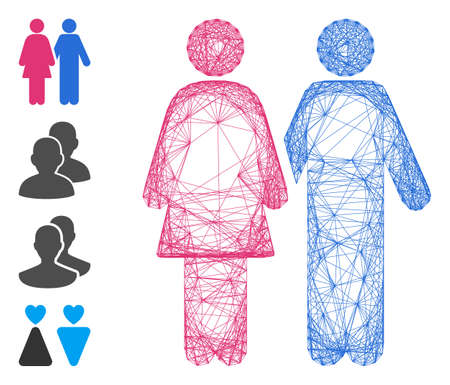 Vector wire frame adult pair. Geometric wire frame 2D net made from adult pair icon, designed with crossing lines. Some bonus icons are added.