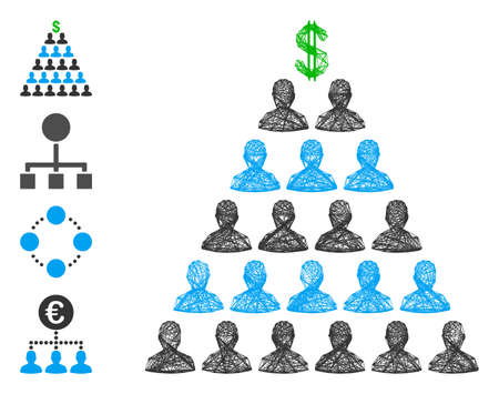 Vector wire frame Ponzi pyramid scheme. Geometric linear frame flat net generated with Ponzi pyramid scheme icon, designed with intersected lines. Some bonus icons are added. Illusztráció
