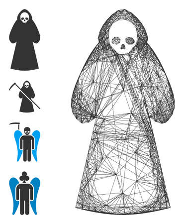 Vector wire frame death hood man. Geometric wire frame flat net based on death hood man icon, designed from intersected lines. Some bonus icons are added.