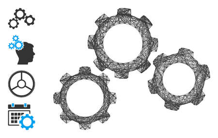 Vector network gears. Geometric hatched carcass 2D network generated with gears icon, designed with crossed lines. Some bonus icons are added.