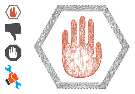 Vector wire frame abort hand. Geometric hatched frame 2D net generated with abort hand icon, designed with crossed lines. Some bonus icons are added.