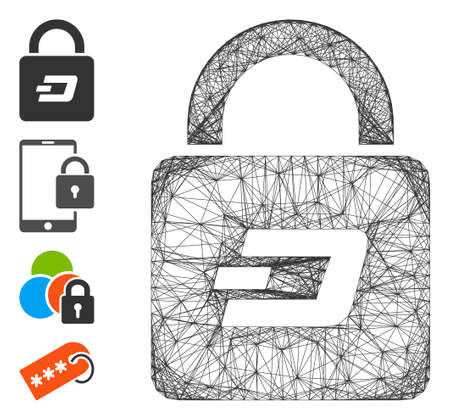 Vector wire frame Dash lock. Geometric wire frame flat net made from Dash lock icon, designed from crossing lines. Some bonus icons are added.