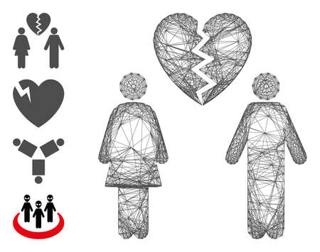 Vector net family divorce. Geometric hatched carcass flat net generated with family divorce icon, designed with crossed lines. Some bonus icons are added. 矢量图像