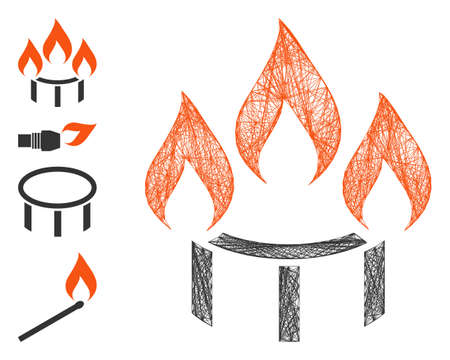Vector wire frame burner nozzle fire. Geometric wire carcass flat net made from burner nozzle fire icon, designed from crossed lines. Some bonus icons are added.