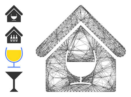 Vector wire frame alcohol bar. Geometric wire frame 2D net based on alcohol bar icon, designed with intersected lines. Some bonus icons are added.