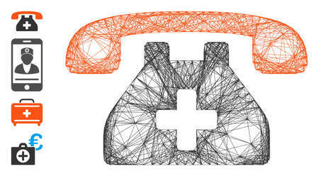 Vector net clinic phone. Geometric hatched carcass flat network made from clinic phone icon, designed from intersected lines. Some bonus icons are added.