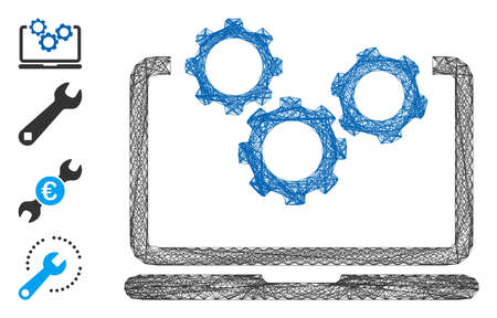 Vector network laptop and gears. Geometric wire frame 2D network made from laptop and gears icon, designed from crossing lines. Some bonus icons are added.