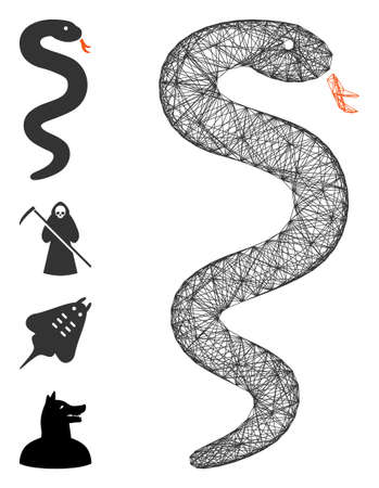 Vector net snake. Geometric linear carcass 2D net made from snake icon, designed from crossed lines. Some bonus icons are added.